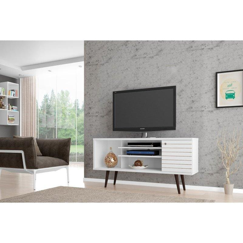 Manhattan Comfort Liberty 53.14 Mid Century - Modern TV Stand with 5 Shelves and 1 Door - White - TV Stands