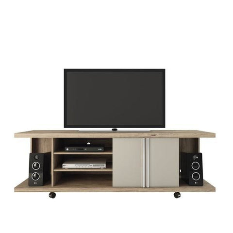 Manhattan Comfort Carnegie TV Stand - Nature and Onyx - TV Stands