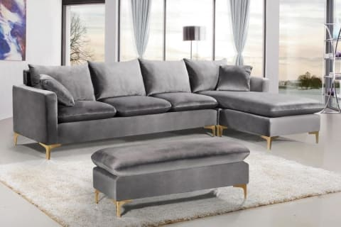 Meridian Furniture Naomi Velvet Reversible Sectional