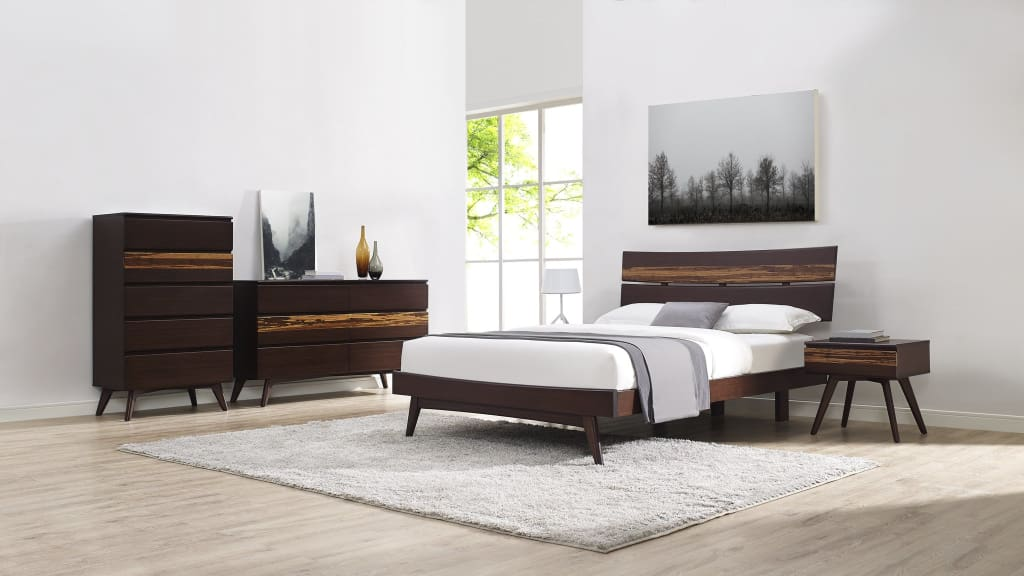 Greenington AZARA Bamboo California King Platform Bed - Sable with Exotic Tiger