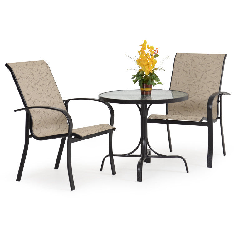 Palm Springs Rattan 1400 Series Outdoor Sling 3 Piece Bistro Dining Set  Bronze