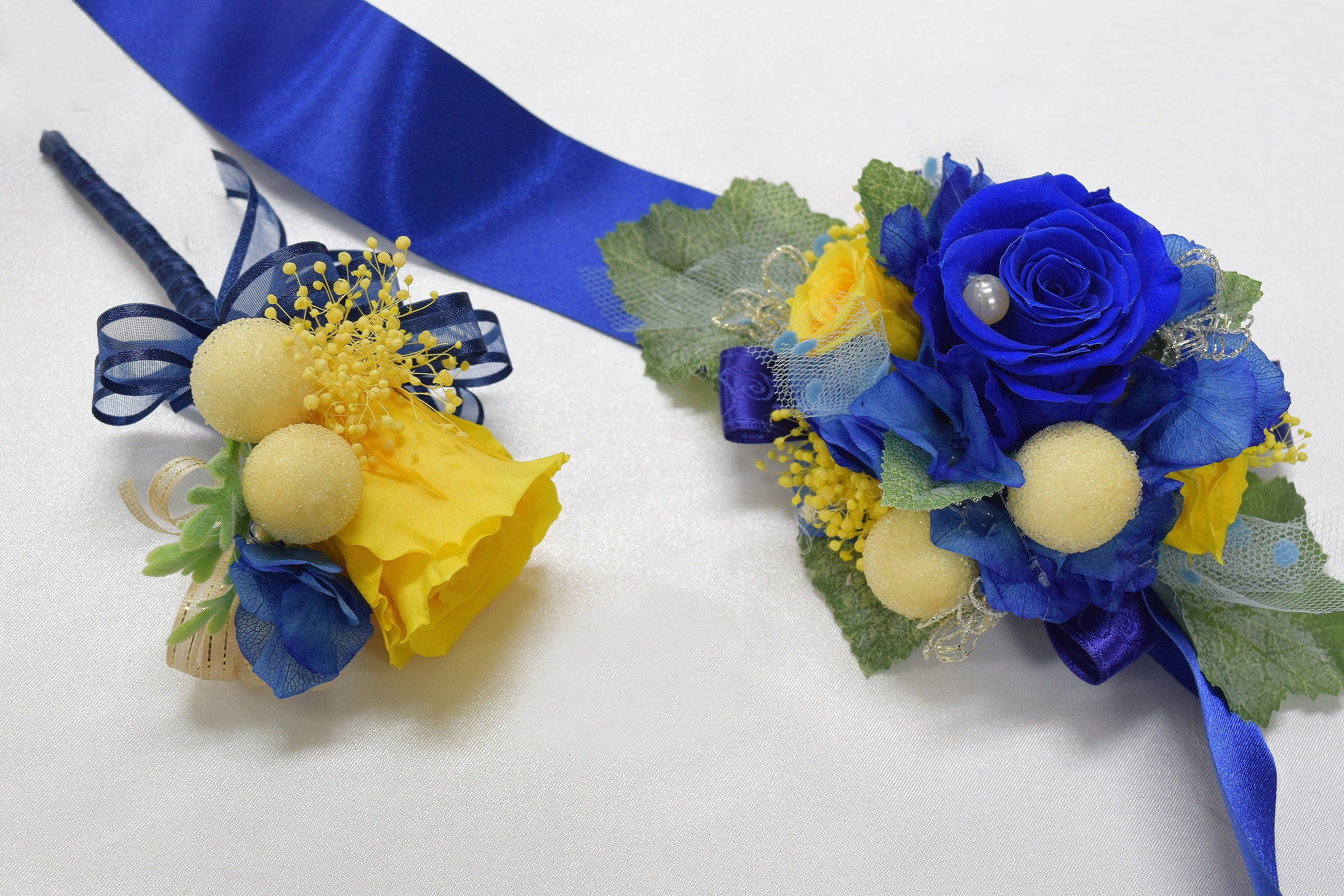 Boutonniere Wrist Corsage Set Bwc25 Royal Blue Yellow