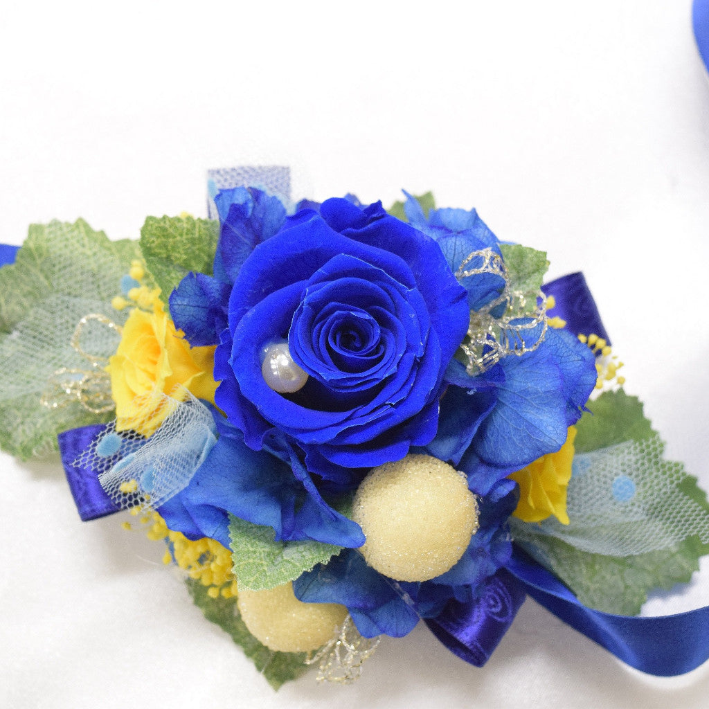 Wrist Corsage Wc25 Royal Blue And Yellow Endura Flora