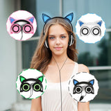 Foldable Glowing Cat Ears headphones with LED lights