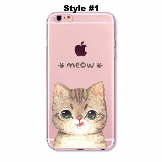 Transparent Cute Cat iPhone Cover