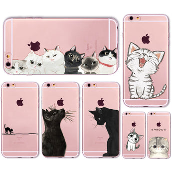 Transparent Cute Cat iPhone Cover - Free + Shipping