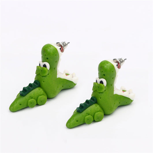Handmade Clay Crocodile Stud Earring