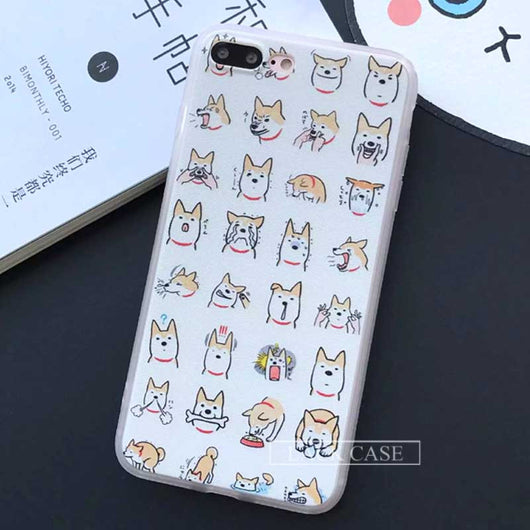 Funny Cartoon Dog Pattern Case For iphone Case Fashion Cute Animal Cat Back Cover Phone Cases For Apple iphone7 6 6S Plus 5 5S