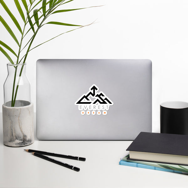 Everest Dream Logo - Black, Grey & Orange Bubble-free stickers