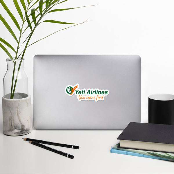 Yeti Airlines You Come First Bubble-free stickers