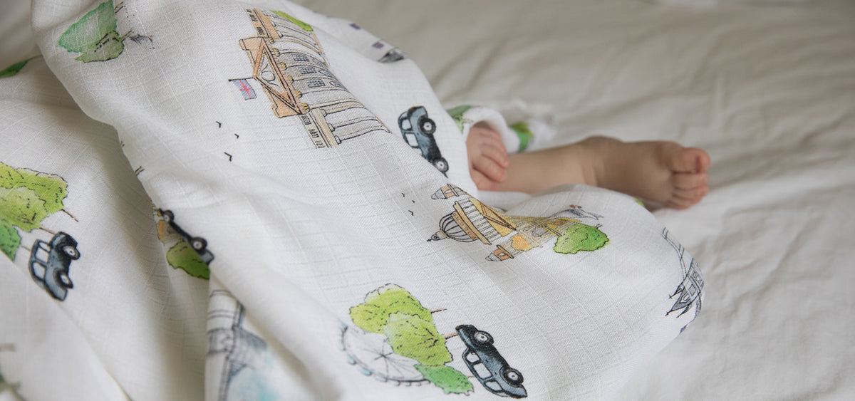 baby feet with London swaddle blanket