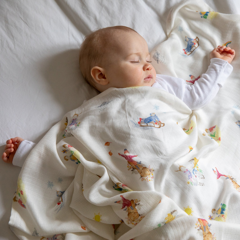 Four Seasons Design Natural Bamboo Baby Blanket (Swaddle Blanket) - The Little Art Collection