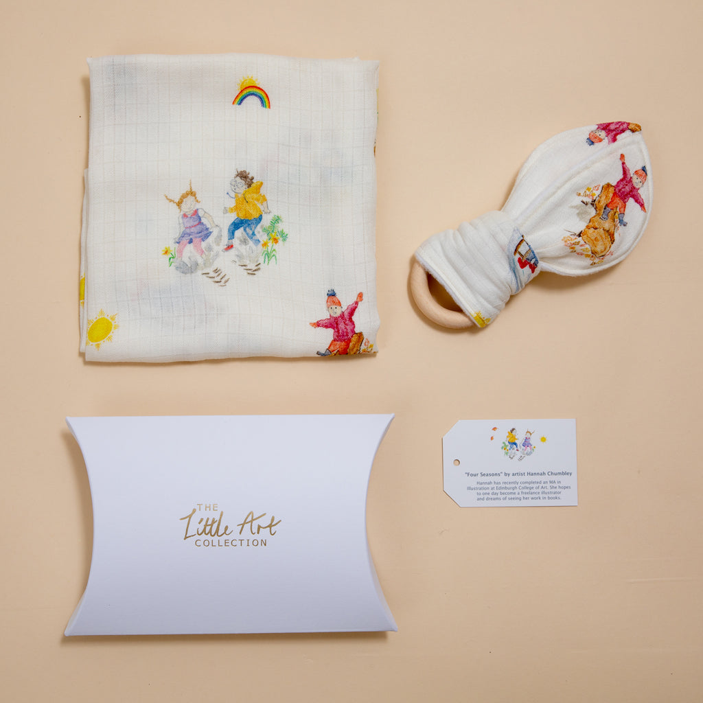 Four Seasons Muslin Square & Teether Baby Gifts Set - The Little Art Collection
