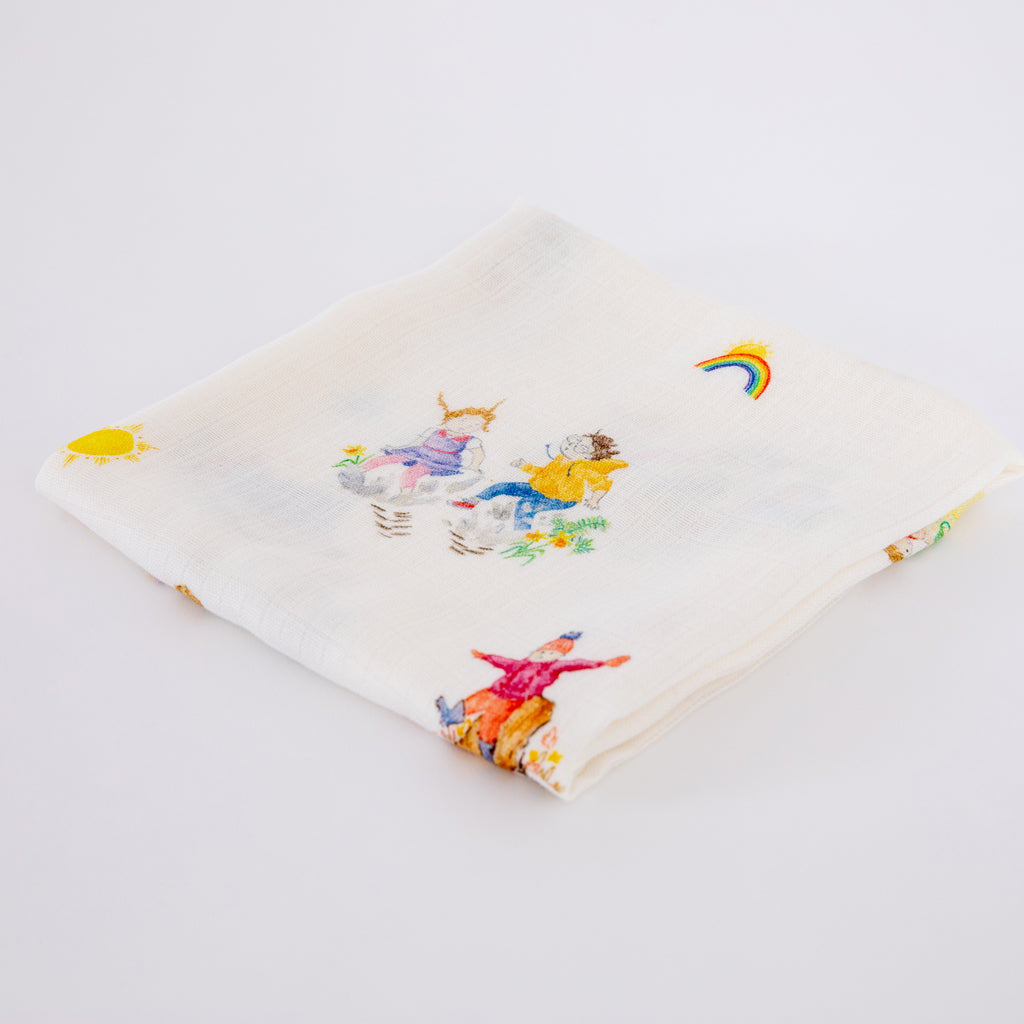 Four Seasons Muslin Square Bib & Teether Baby Gifts Set - The Little Art Collection