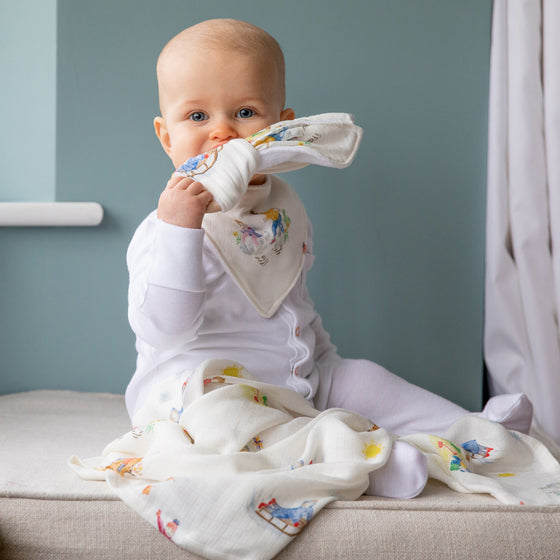 Image of baby sitting with teether, dribble bib and muslin square