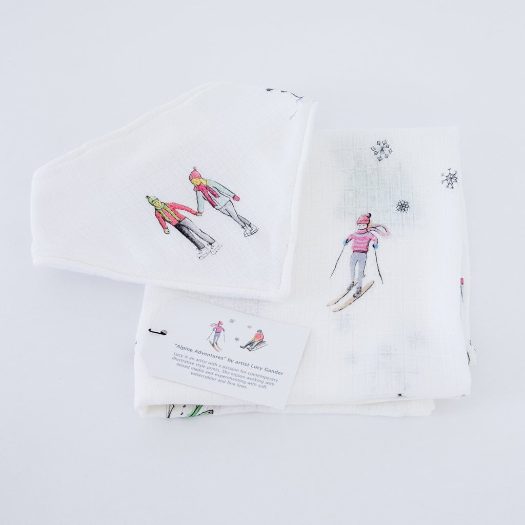 Alpine Muslin Square & Bib Baby Gifts Set - The Little Art Collection