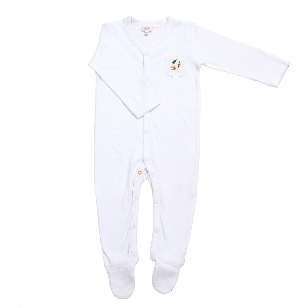 Bamboo Baby Sleepsuit (Leaf Design) - The Little Art Collection