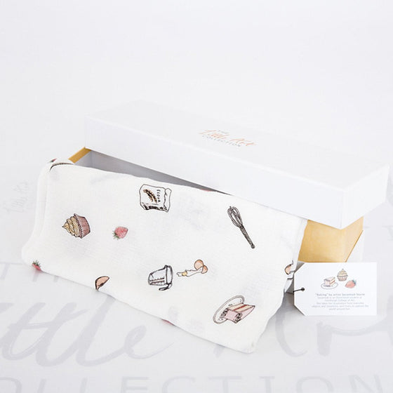 image of baking swaddle blanket with gift box