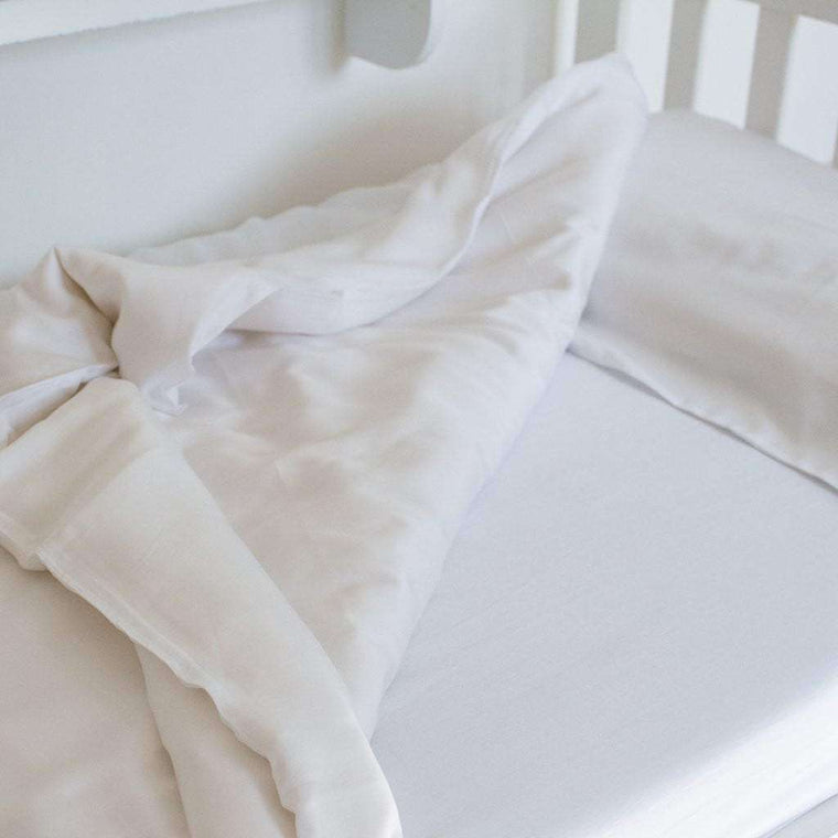 100% Bamboo Cot Duvet Cover & Case - White - The Little Art Collection