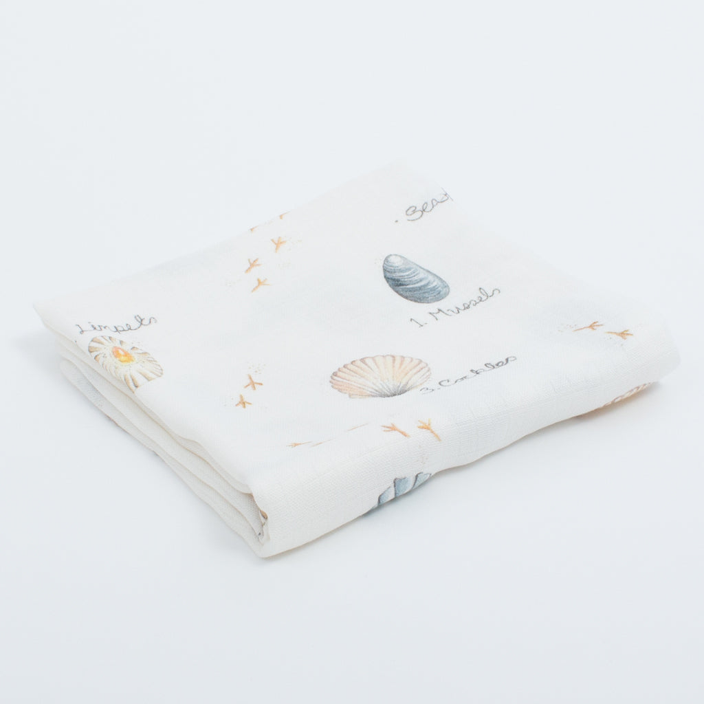 Seashells Bamboo Muslins - The Little Art Collection