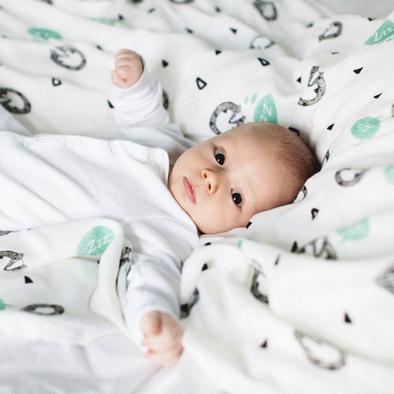 Baby in badger bamboo swaddle blanket