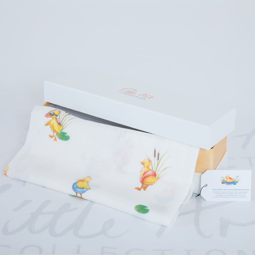 image of gift box with duckling swaddle blanket