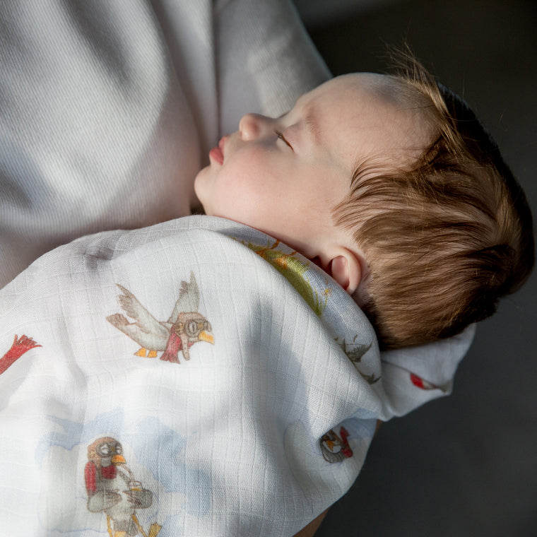 image of sleeping baby with little gulls bamboo swaddle blanket