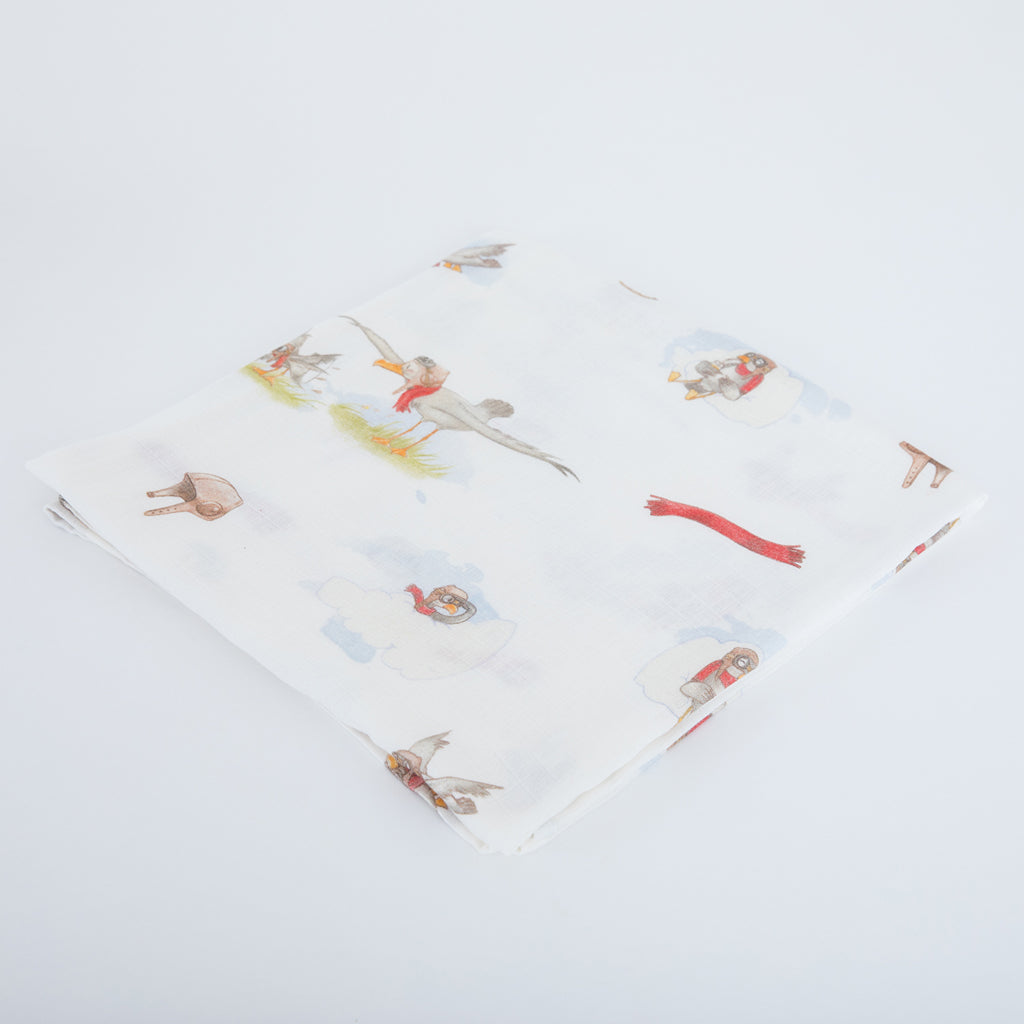 Little Gulls Natural Bamboo Baby Blanket (Swaddle Blanket) - The Little Art Collection