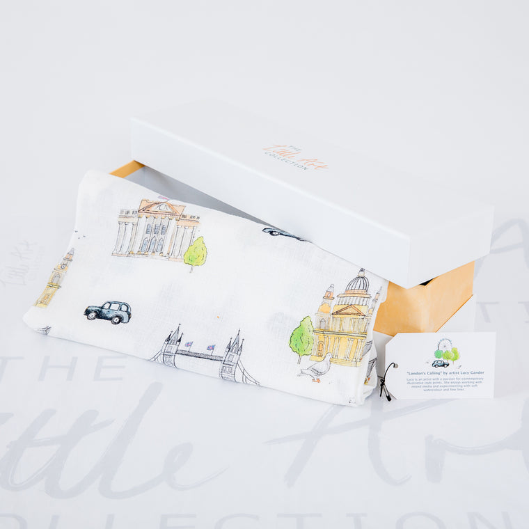 London Bamboo Swaddle Blankets - The Little Art Collection