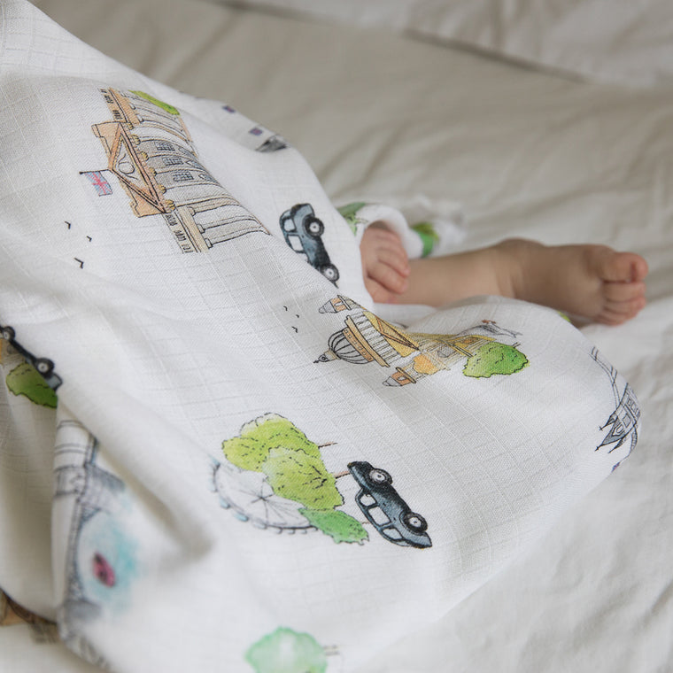 London Design Natural Bamboo Baby Blanket (Swaddle Blanket) - The Little Art Collection