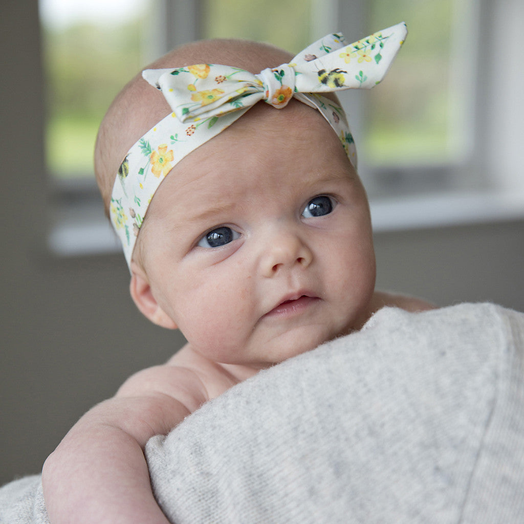 Image of bee print baby girl headband