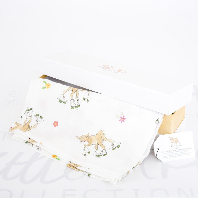image of cow baby swaddle blanket with gift box