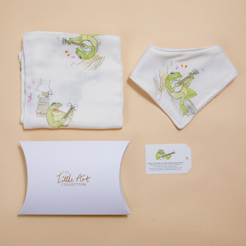 Image of Frog baby muslin and dribble bib baby gifts set