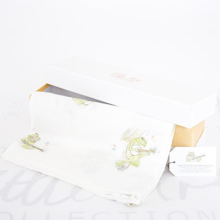 image of frog swaddle blanket with gift box