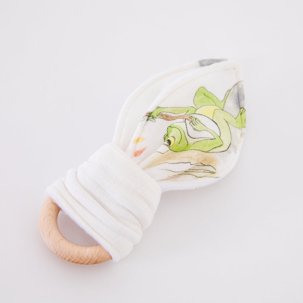 Natural Wooden Baby Teething Ring (Frog Design Teether) - The Little Art Collection