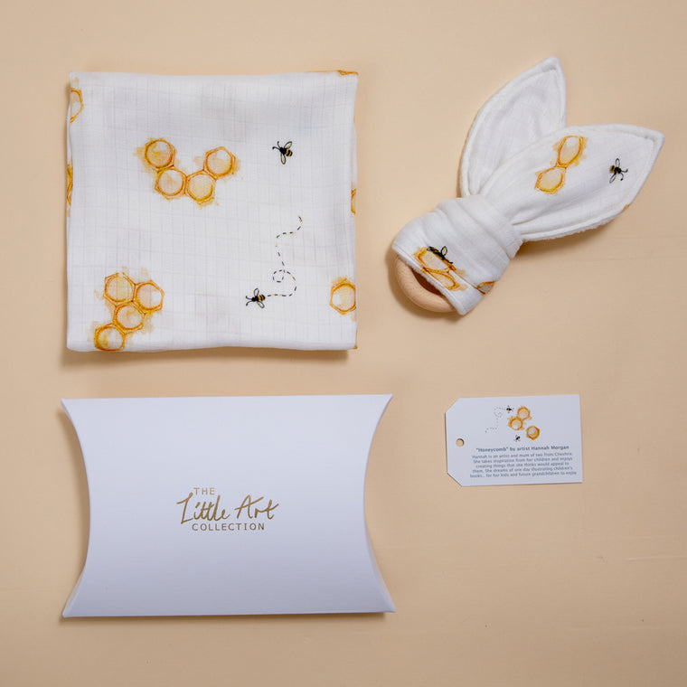 Honeycomb Muslin Square & Teether Baby Gifts Set - The Little Art Collection