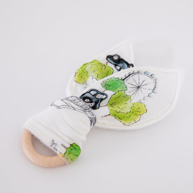 Natural Wooden Baby Teething Ring (London Design Teether) - The Little Art Collection