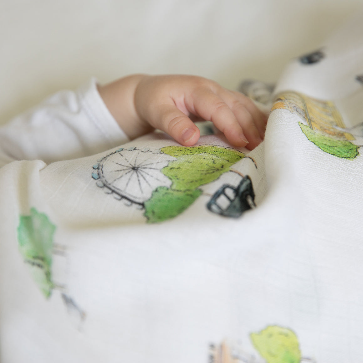 Image of baby hand on London print baby muslin