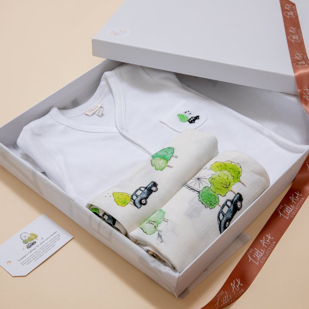 Luxury Baby Gifts Set (London Baby Muslins) - The Little Art Collection