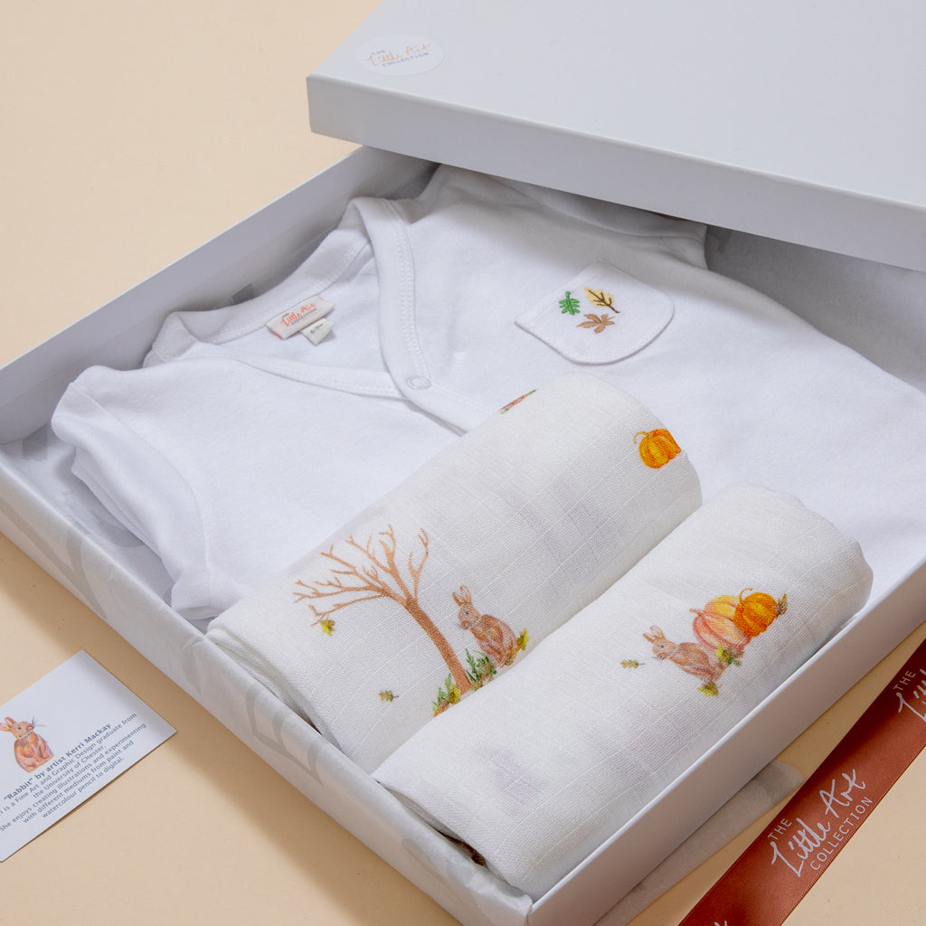 Luxury Baby Gifts Set (Rabbit Baby Muslins) - The Little Art Collection