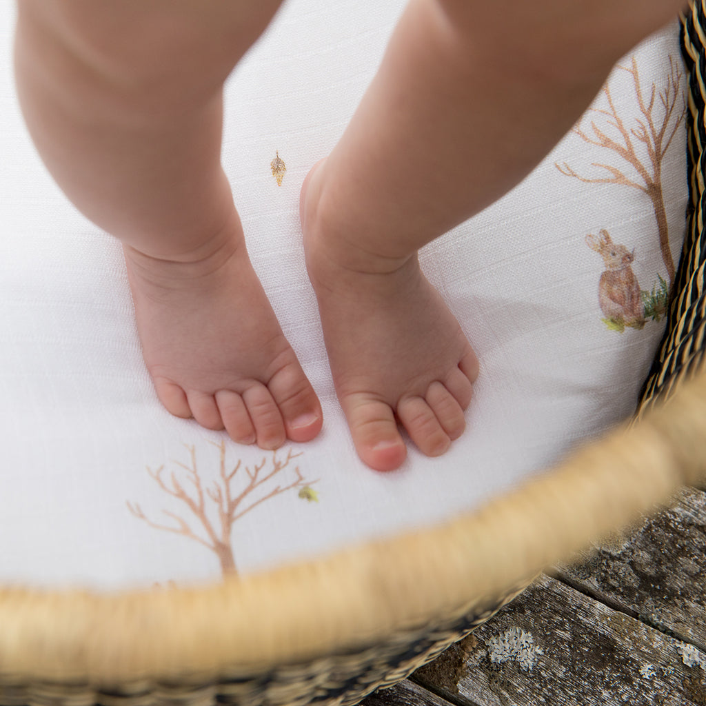 baby feet on moses basket sheets
