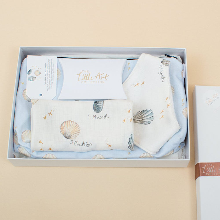 Natural Baby Gifts Set For Mum & Baby (Seashells) - The Little Art Collection