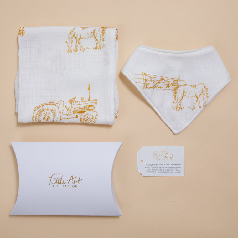 Farm Muslin Square & Bib (Natural Baby Gifts Set) - The Little Art Collection