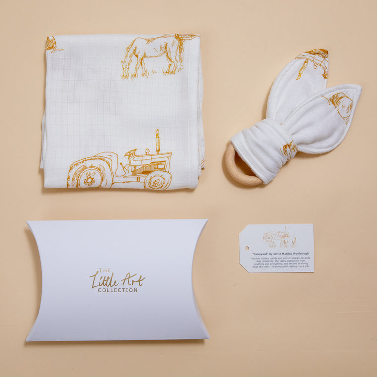 Farm Muslin Square & Teether (Natural Baby Gifts Set) - The Little Art Collection