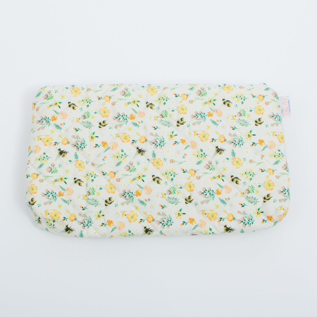 Quilted Yellow Nappy Changing Pouch (Nappy Travel Pouch) - The Little Art Collection