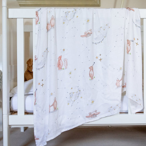 Stargazing Bear Swaddle Blankets (Bamboo Blankets) - The Little Art Collection