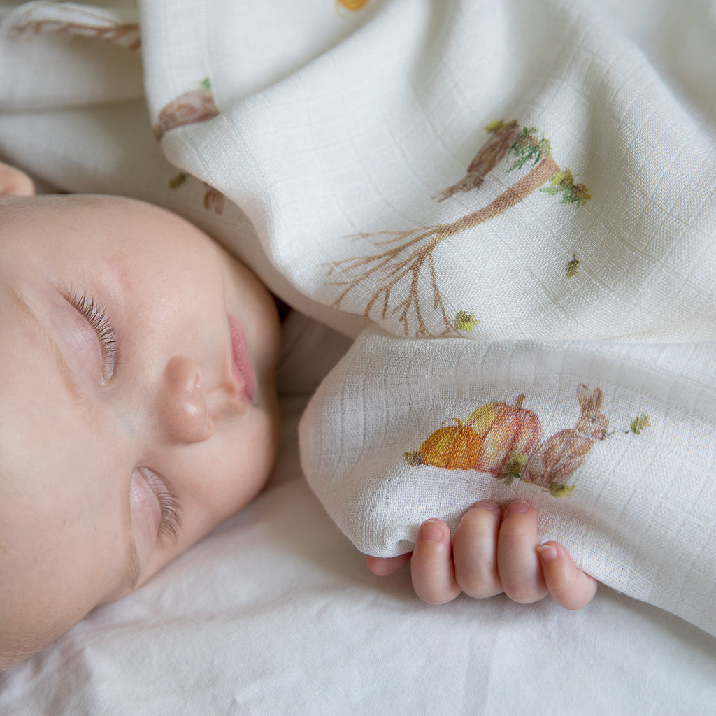 Image of baby sleeping with rabbit muslin square