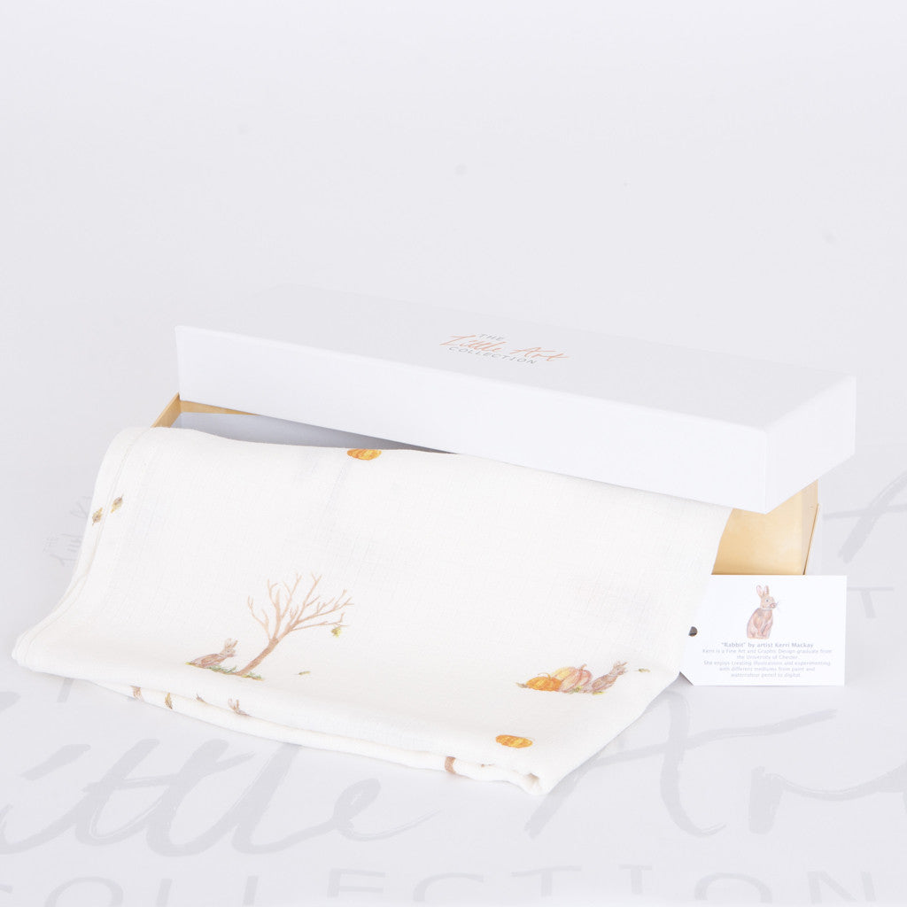 image of rabbit swaddle blanket with gift box