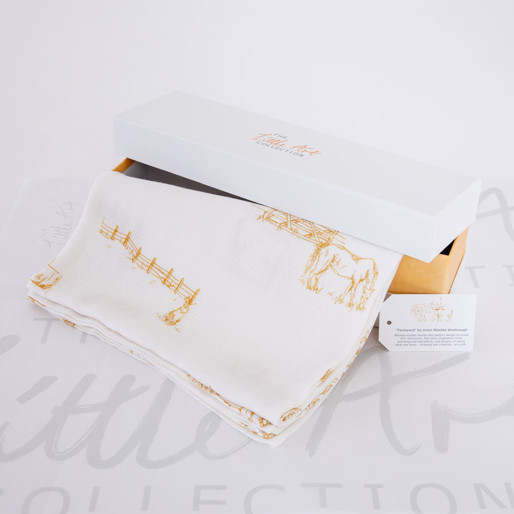 Image of farm swaddle blanket with gift box