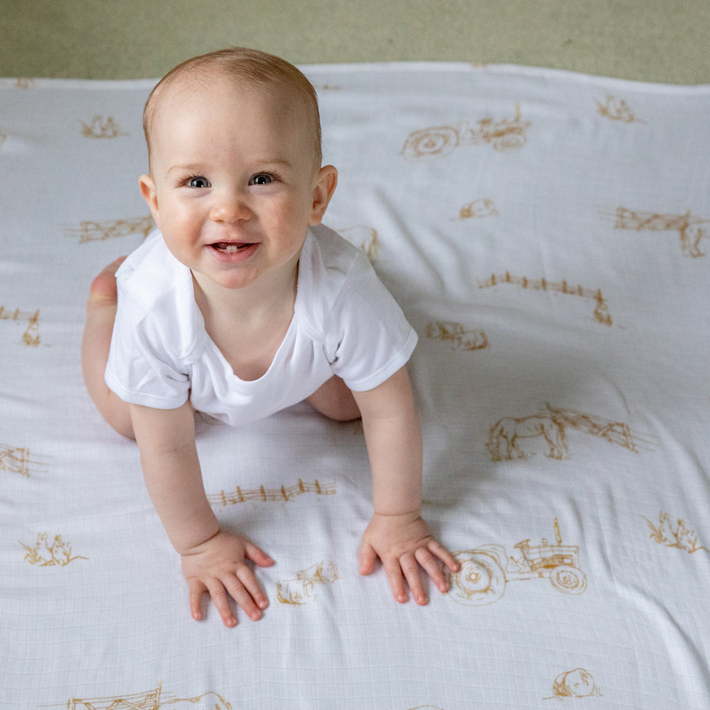 Farm Design Natural Bamboo Baby Blanket (Swaddle Blanket) - The Little Art Collection